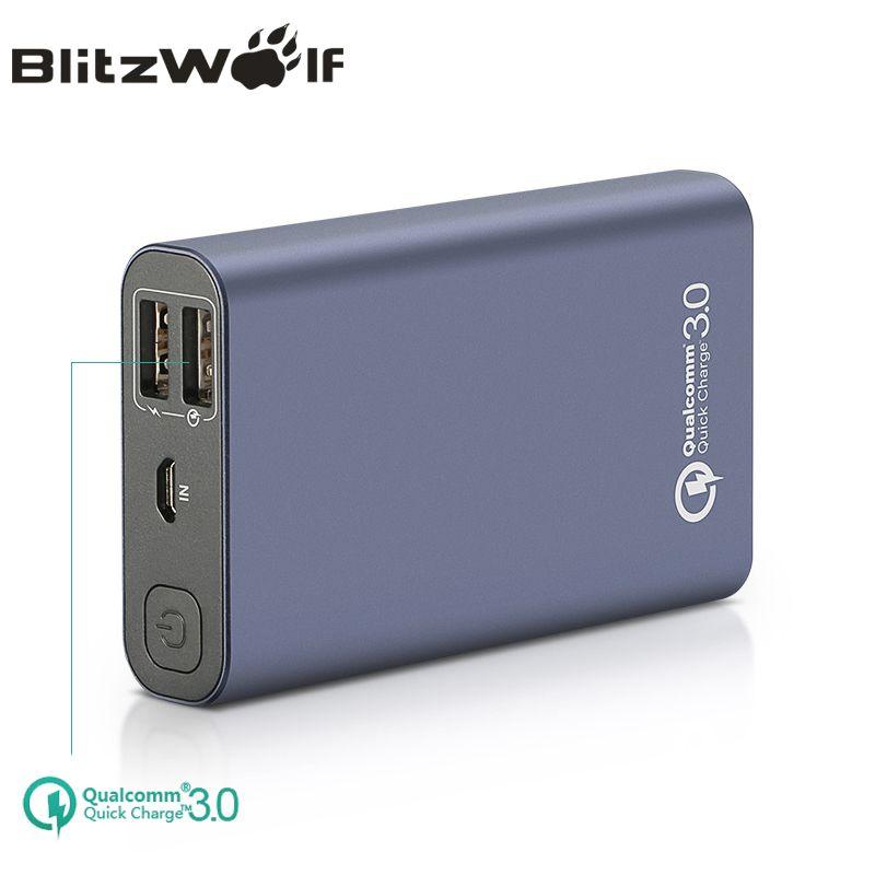 BlitzWolf BW-P3 Original Universal 10000mAh 18W QC3.0 Quick Phone Charger 3.0 Dual USB Port Power Bank External Battery