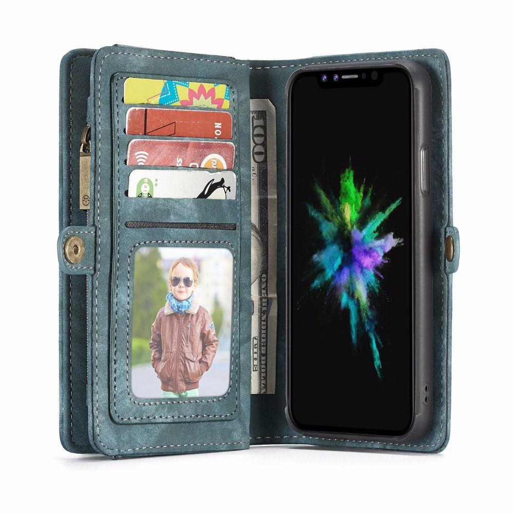 CaseMe para Apple iPhone X 7/8 7/8 Más Cubierta de la Caja de Tarjeta titular de la Cartera de cuero Magnético Del Caso de Cuerpo Completo Color Sólido Duro Cuero Genuino