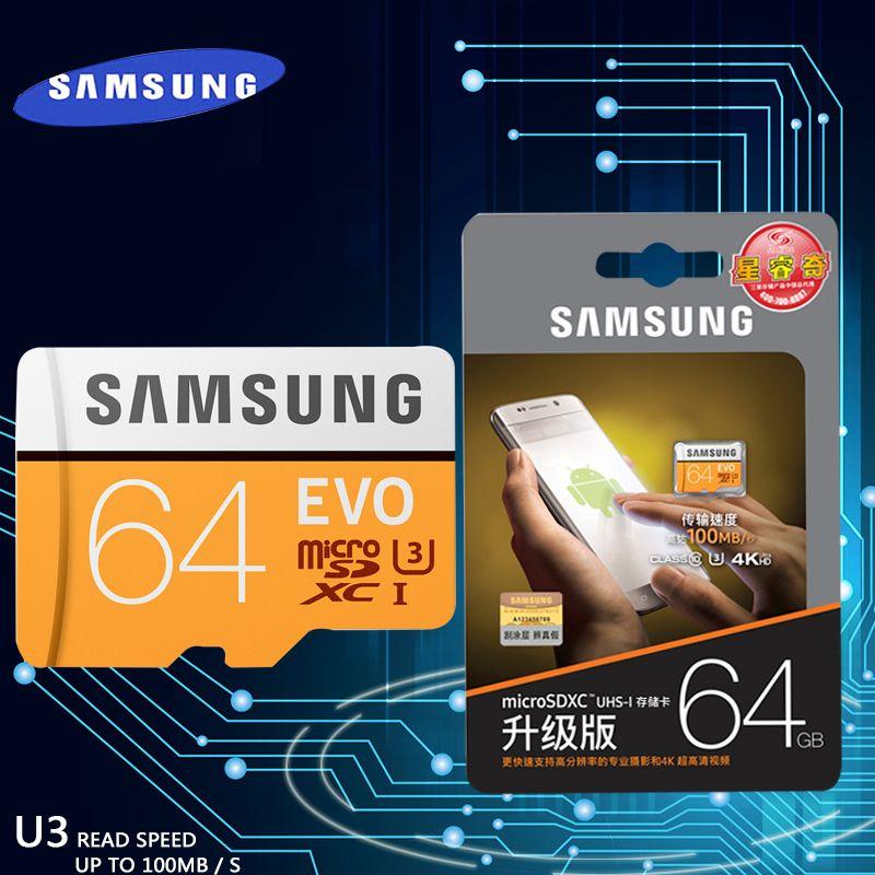 Samsung nouvelle evo carte mémoire 16 gb/32 gb/sdhc 64 gb/128 gb/256 gb/sdxc tf flash carte micro sd cartes uhs-i class10 c10 u3 livraison gratuite