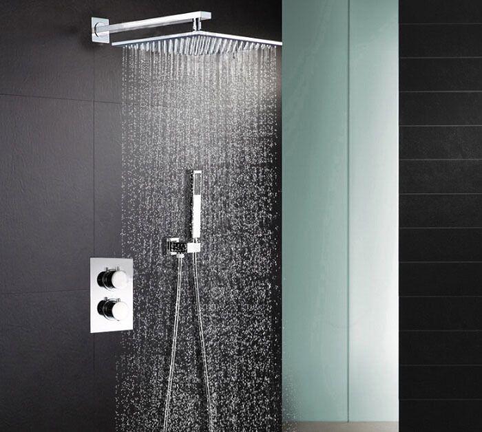 Freies Verschiffen 304 edelstahl Platz 8 oder 10 oder 12 oder 16 regen Dusche Brausethermostat ventil Dusche Set SS001