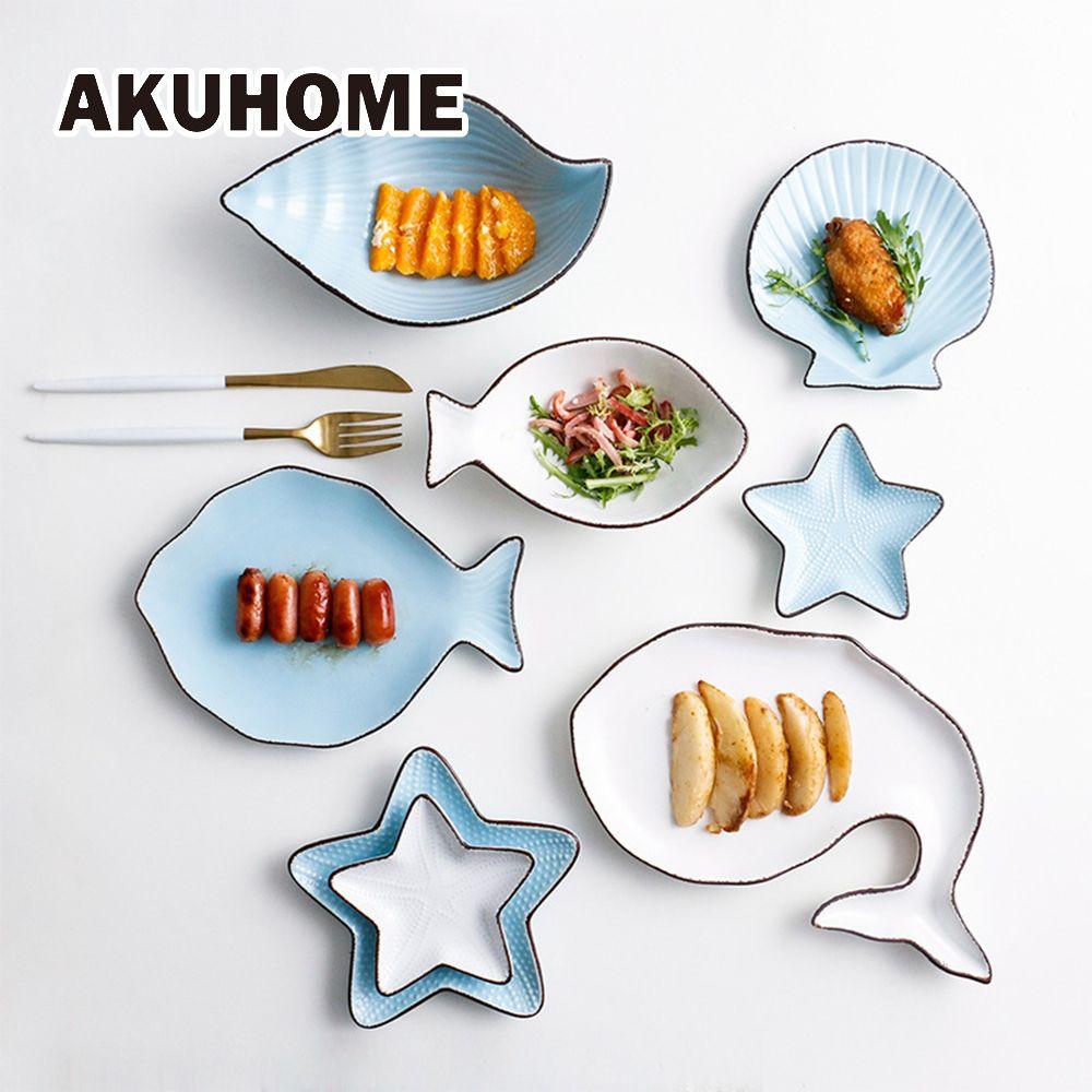 Assiette en céramique Style océan plat poisson baleine coquille étoile de mer trompette bol bleu blanc porcelaine vaisselle