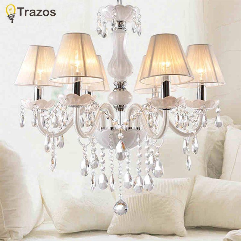 New Modern White crystal chandeliers for Livingroom Bedroom indoor lamp K9 crystal lustres de teto ceiling chandelier