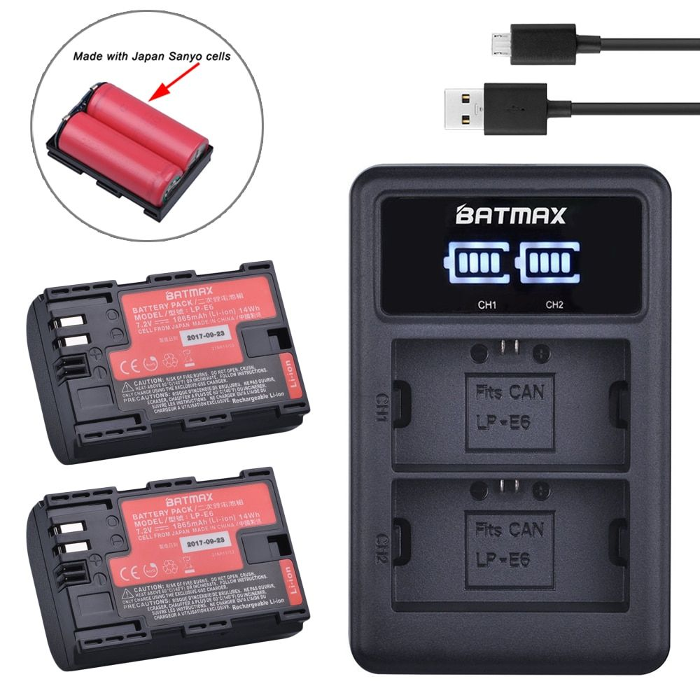 2pc LP-E6 LP E6 LP-E6N Batterie Japon Cellule Sanyo + LED Double USB Chargeur pour appareil photo Canon EOS 6D 7D 5DS 5DSR 5D Mark II 5D 60D 60Da 70D 80D