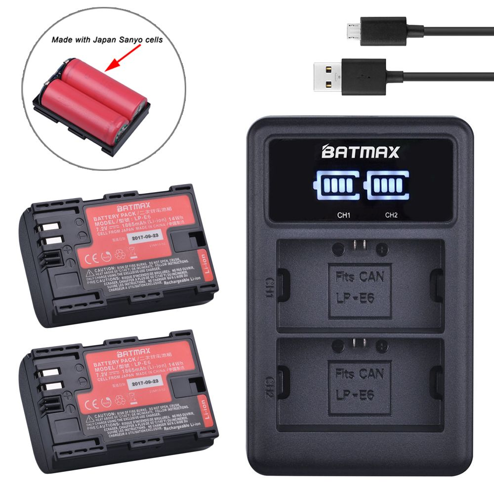 2pc LP-E6 LP E6 LP-E6N Battery Japan Sanyo Cell+LED Dual USB Charger for Canon EOS 6D 7D 5DS 5DSR 5D Mark II 5D 60D 60Da 70D 80D