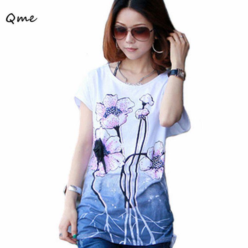 Плюс большие размеры корейские женские Модные цветок футболка свободные короткими рукавами Большой Большие размеры S для Для женщин XXXL XXXXL ...