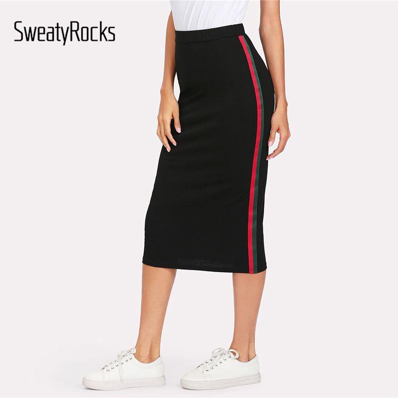 SweatyRocks Striped <font><b>Tape</b></font> Side Skirt Black Women Knee Length Elegant Athleisure Skirt 2018 Summer Mid Waist Casual Skirt