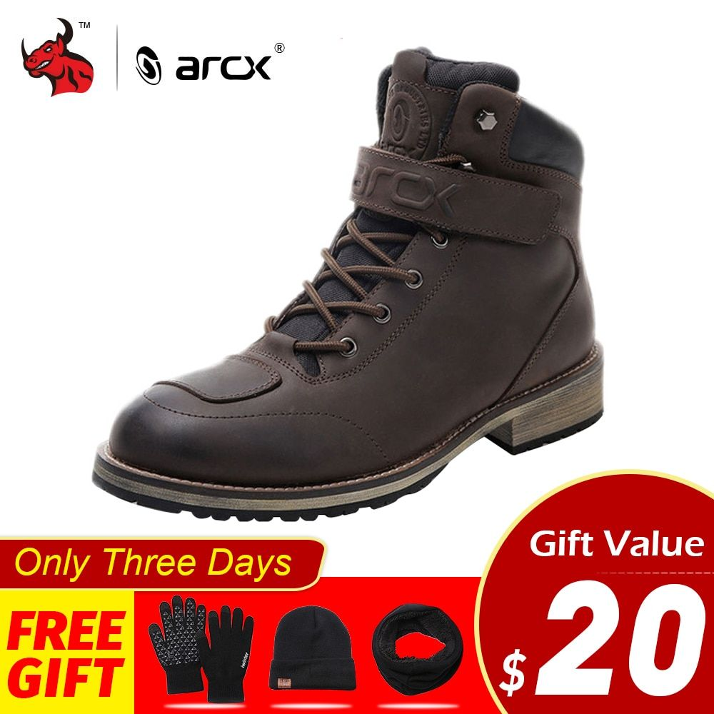 ARCX Leather Motorcycle Boots Men Waterproof Motocross Boots Motorcycle Outdoor Travel Shoe Moto Vintage Ankle Boots