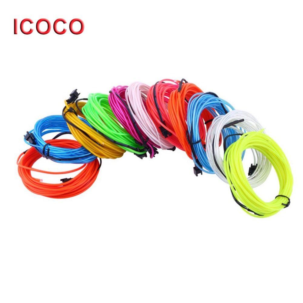 ICOCO 3 Mt Flexible EL Draht Neon Auto Lichter Dance Party Decor lichter El-drahtseil-schlauch led-streifen mit Controller tropfen-verschiffen