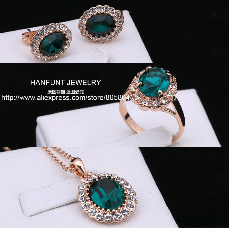 S107 Rose Gold Color AAA Green Austrian Crystal Jewelry Set With 3 Pcs Ring + Necklace + Eearrings For Women Wholesale