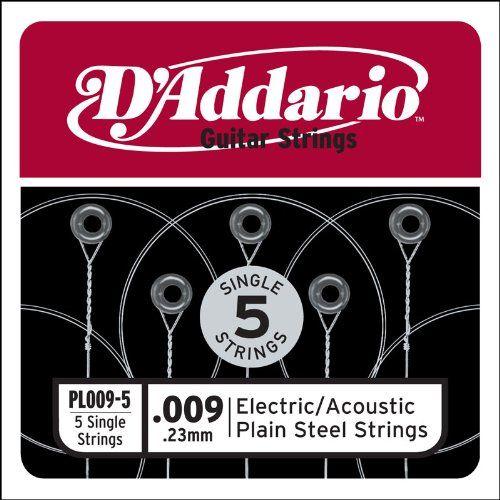 D'Addario PL009-5 Plaine Acier Guitare Chaîne Unique pour Acoustique et Guitare Électrique,. 009, 5-pack
