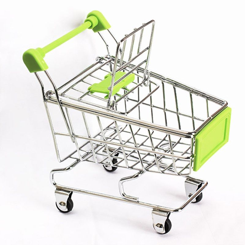 Mini Supermarket Handcart Trolley Shopping Utility Cart Phone Holder Office Desk Storage Toy Cart Baby Toy Handcart Accessories
