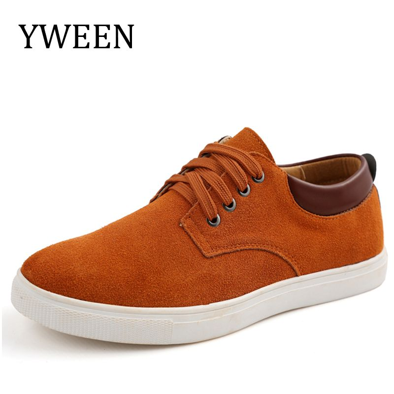 YWEEN hombres Zapatos Casual Hombre Rebaño de Cuero con cordones zapatos Hombre Oxford Pisos de Gran Tamaño Eur38-eur49