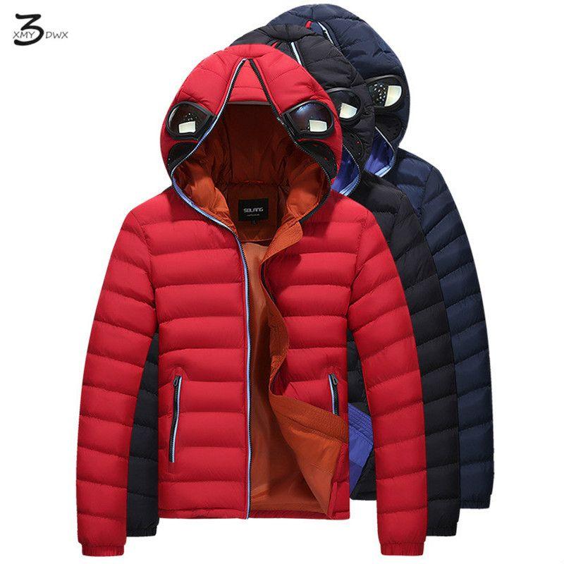 XMY3DWX männer verdickung der winter mode warme reine farbe baumwolle kleidung gläser verhindern nebel dunst jacke lokomotive mantel