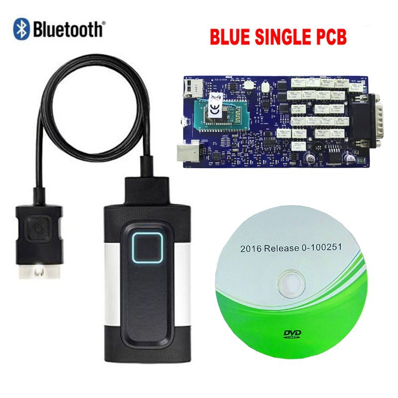 2018 Version TCS CDP PRO For Autocoms vd ds 150e cdp Car Truck OBD2 Diagnostic Tool with bluetooth blue single board.free ship