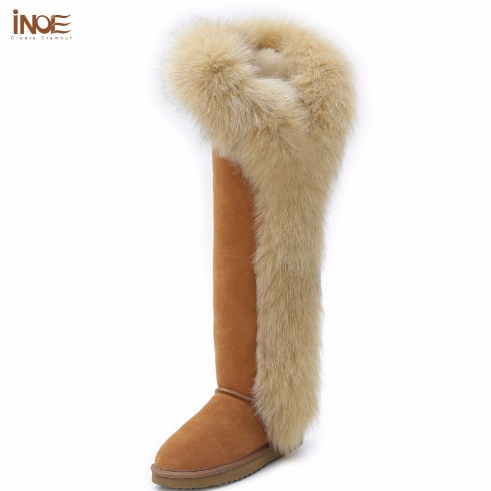 INOE fashion fox fur real sheepskin leather long wool lined thigh suede women winter snow boots high quality shoes black botas