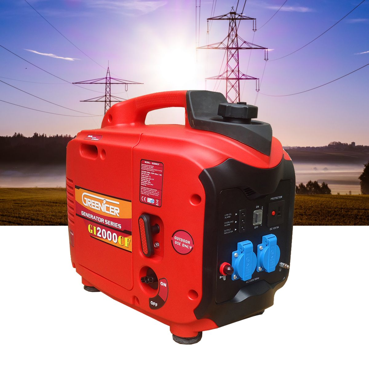 1/2/3KW 220V Portable Electric DC/AC Inverter Generator Digital Gasoline Powered Engine Generator Set Ture Power Low fuel