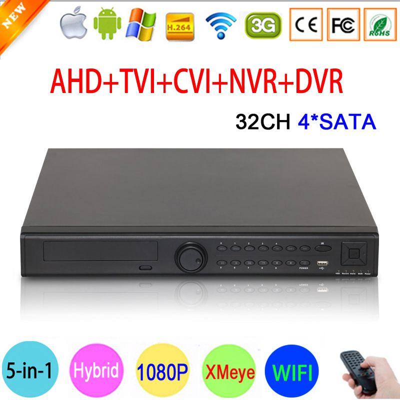 1080 P Cctv-kamera Hi3531A 32CH 32 Kanal 4 SATA 5 in 1 1080N Hybrid Koaxial Wifi Onvif IP NVR TVI CVI AHD DVR Freies verschiffen