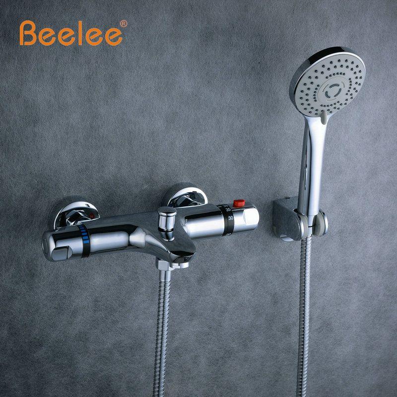 Beelee настенный Для ванной термостатический смеситель для душа подвергается Клапан дно латунь термостатический Для ванной кран Ванная комна...