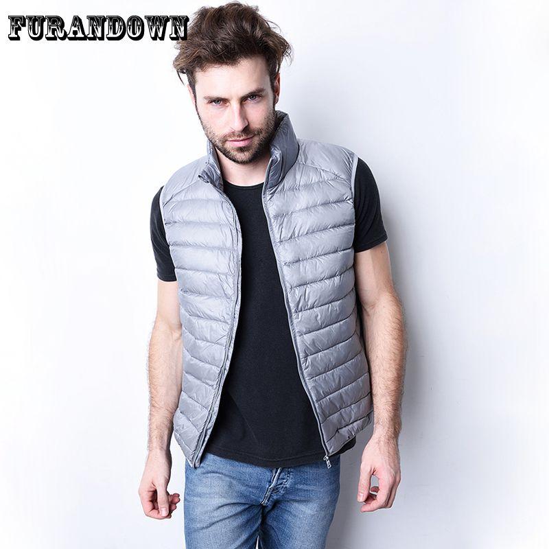 Men Winter Down Vest Coat Ultra Light Down Sleeveless Jacket Mens Brand 90% white Duck Down Vest