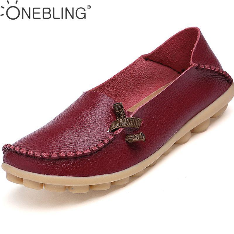 Hot Sale Genuine Leather Women Shoes 2017 Fashion Lace up Casual Flat Shoes Peas Non-Slip Outdoor Shoes Plus Size 34 -44