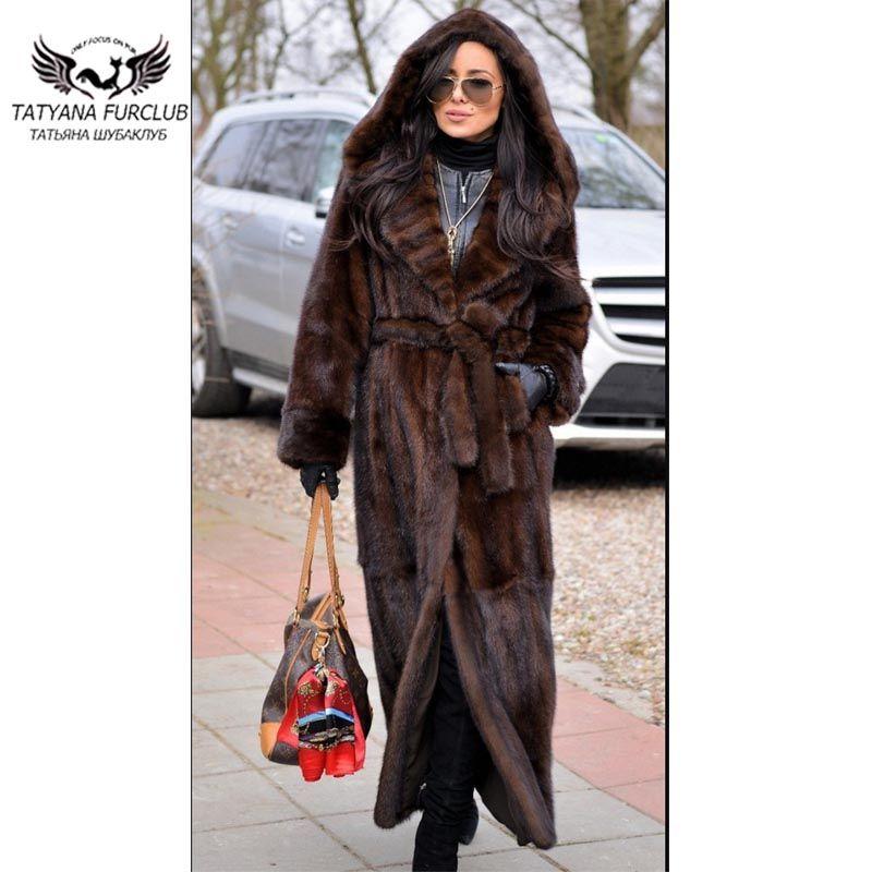 2018 New X-Long Fur Mink Coat Women 120 CM Till Ankle Slim Mink Fur Coats With Belt Genuine Leather Fashion Mink Fur Overcoats