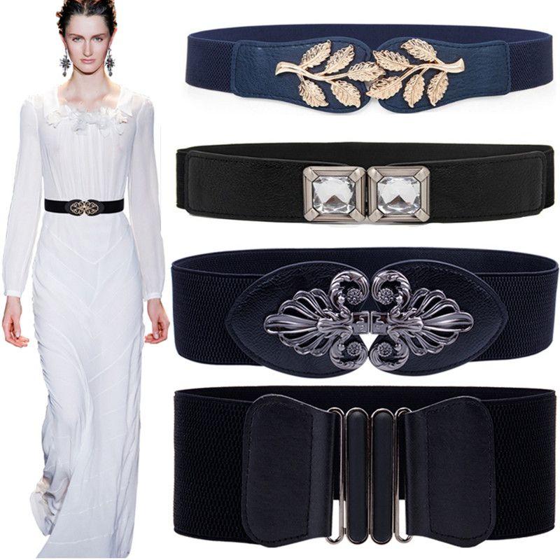 Nouvelle livraison gratuite stretch large taille mode or grande boucle ceinture ceinture femme corps sculptant cummerbund élastique solide femmes
