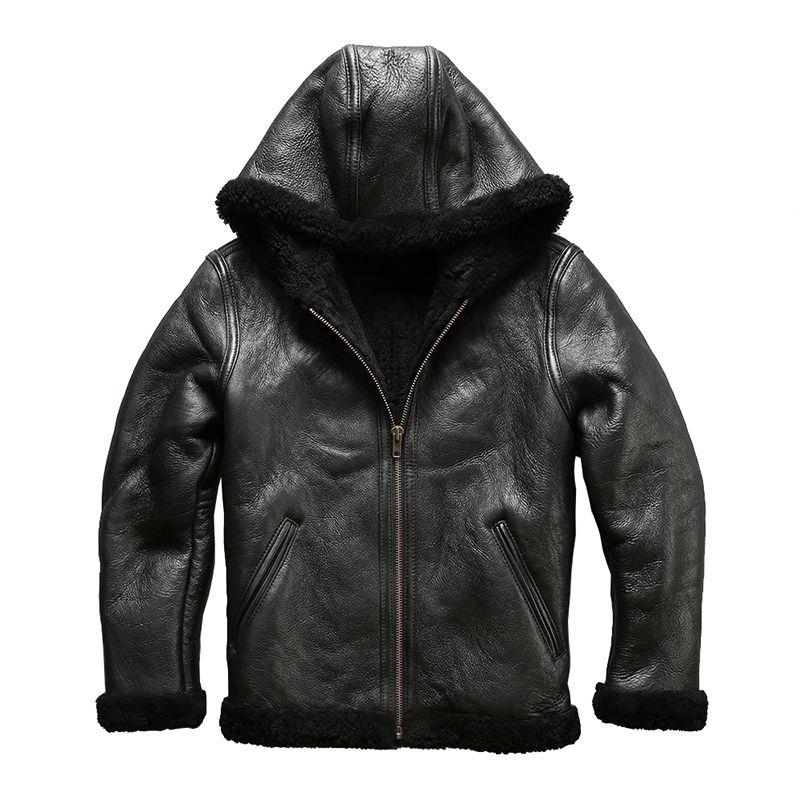 8009 european size high quality super warm genuine sheep leather jacket mens big size B3 shearling bomber military fur jacket