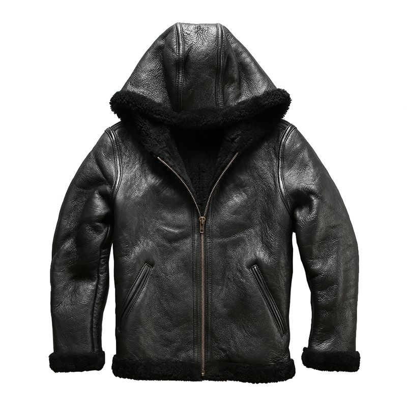 8009 european size high quality super warm genuine sheep leather jacket mens big size B3 shearling bomber military fur jacket