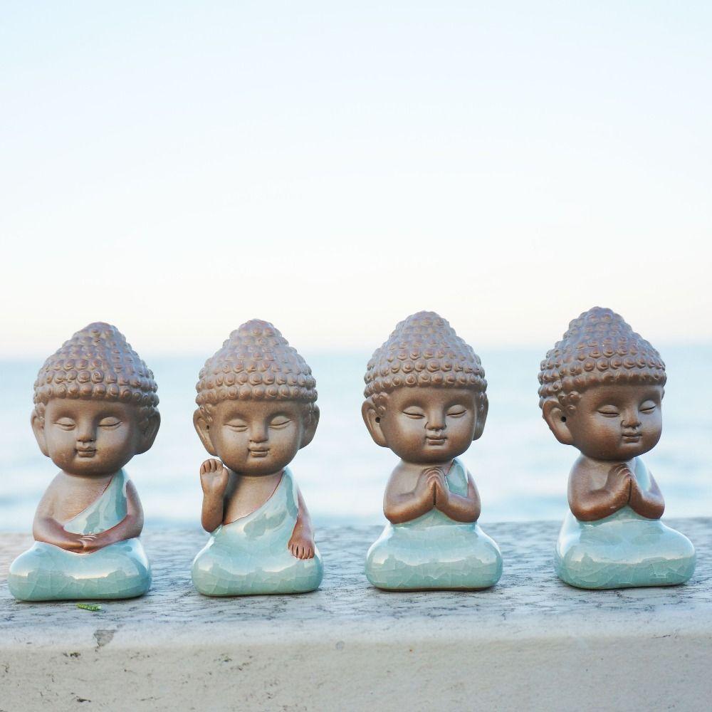 Decoración de Buddha estatua estatuilla monje accesorios bonsai jardín de casa decoración de té mascota tathagata Mandala India decoración