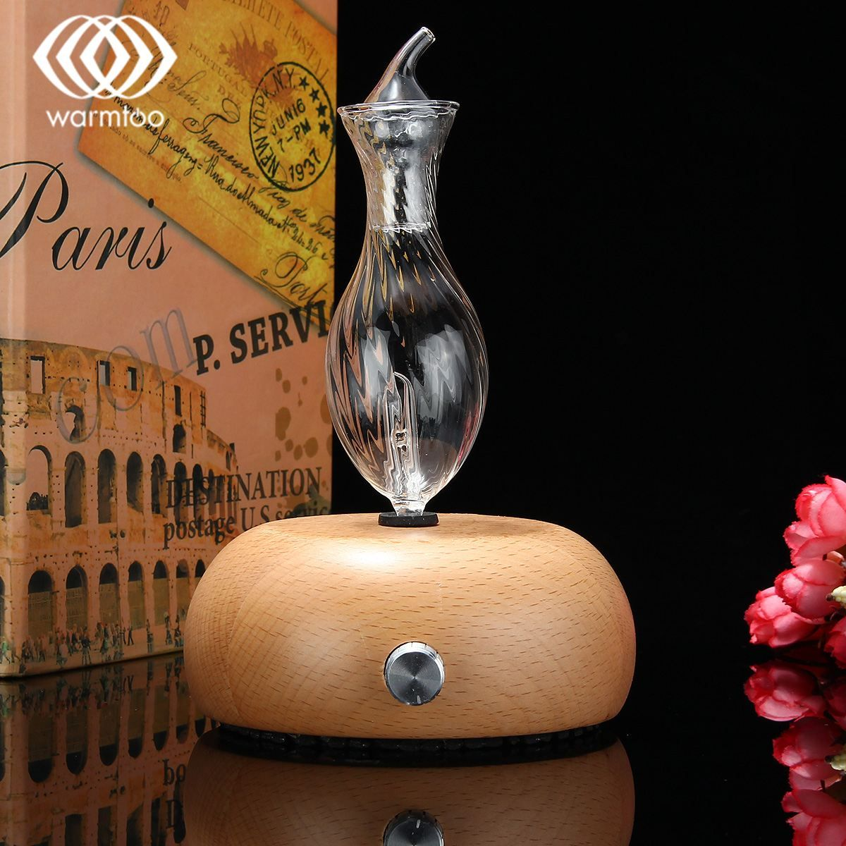 Warmtoo Fashion Nebulizing Pure Essential Oil Fragrance Humidifier Air Aroma Wood Glass Diffuser For Home Office Appliance