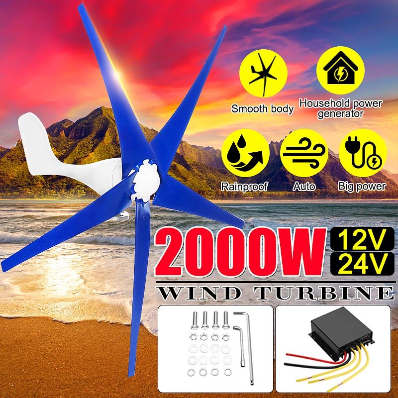 Neueste 2000 W 12/24 V Wind für Turbine Generator 3/5 Wind Klingen OptionWind Controller Geschenk Fit für Home + montage zubehör tasche