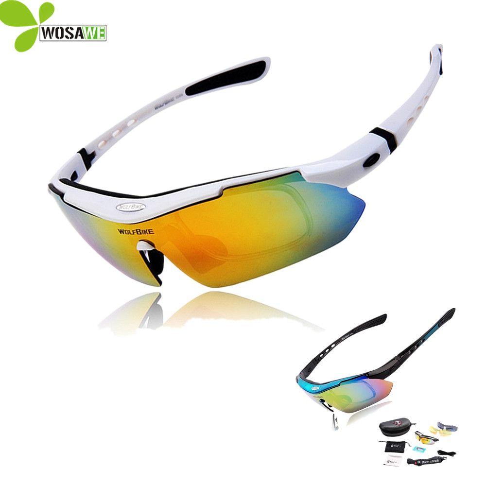 WOLFBIKE hommes cyclisme lunettes lunettes lunettes de soleil vélo 5 lentilles UV 400 Sport vtt vélo lunettes polarisées cyclisme lunettes de soleil