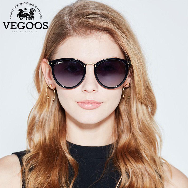 VEGOOS New Polarized Women Round Sunglasses Brand Designer Fashion Retro Cat Eye Polaroid Sun Glasses  #6112