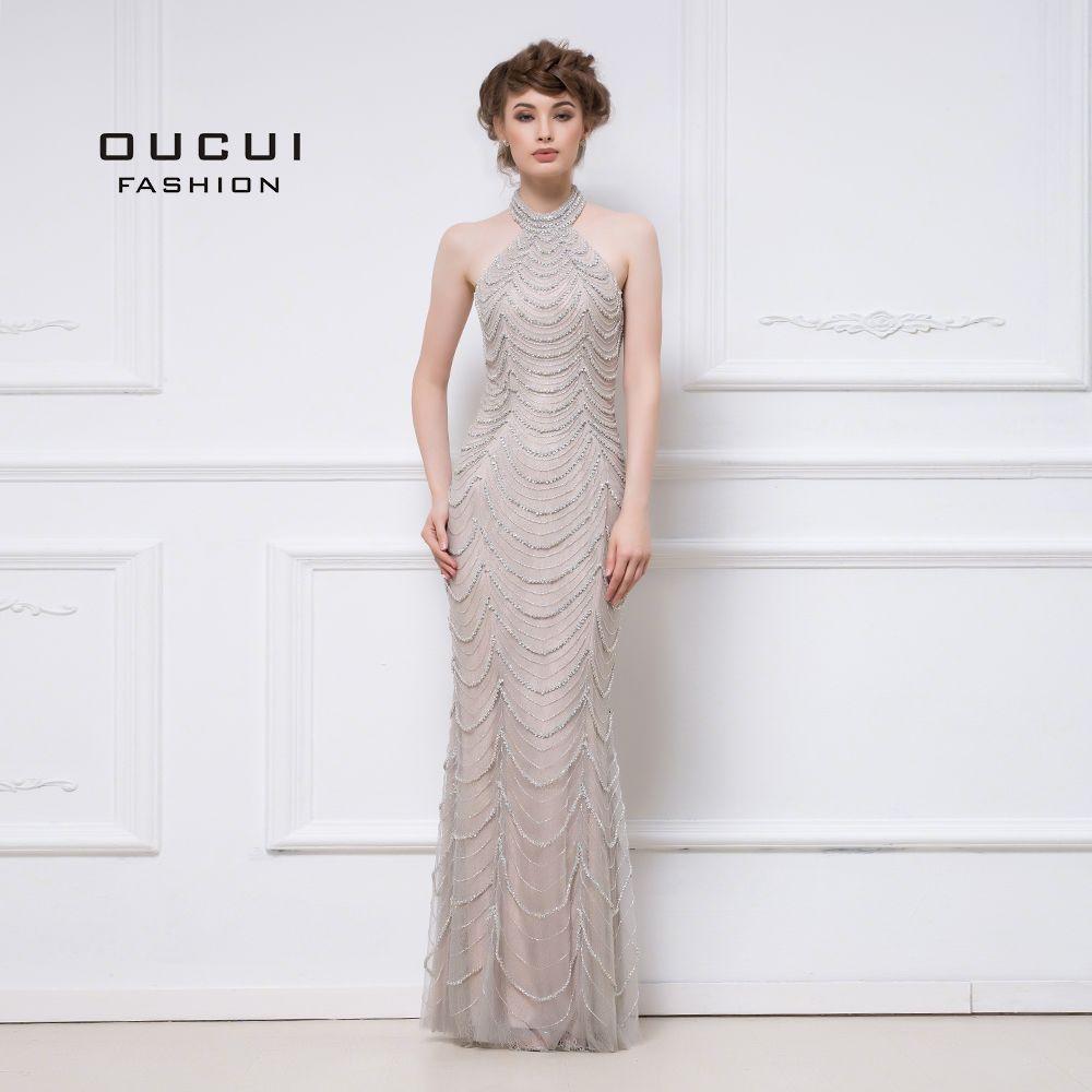 Neueste Design Grau Nude Halter 2019 Lange Prom Kleider Party Luxus Diamant Perlen Gerade Sexy Formale Kleid Vestido OL103048