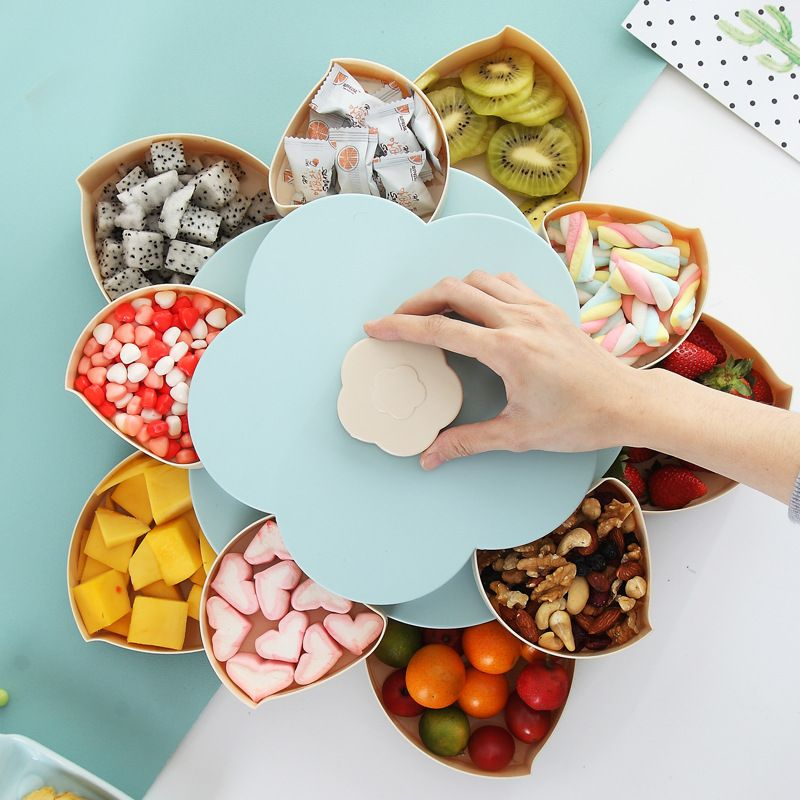 Rotating Petal Fruit Candy Box for Seeds Nuts Dry Fruits Case Plum Type Lunch Container for Kids Protect Fruit Case Organizer