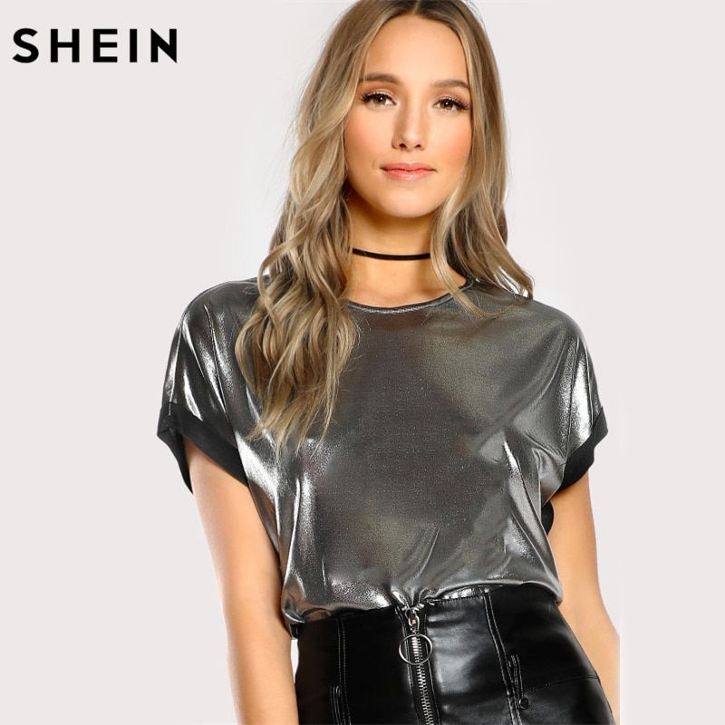 SHEIN Roll Cut Coated T-shirt Silver Short Sleeve O Neck Regular Fit T-shirt Ladies Party Summer T shirts for Women