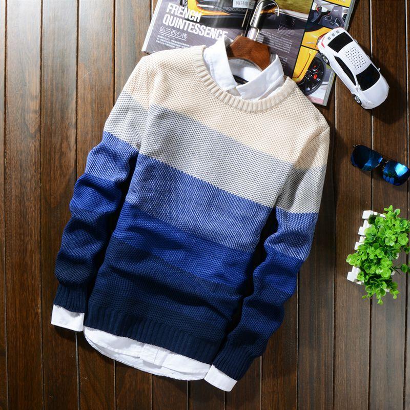 2018 automne hiver laine rayé chandail hommes décontracté bleu mâle chandail o-cou Slim Fit tricot hommes pulls 50