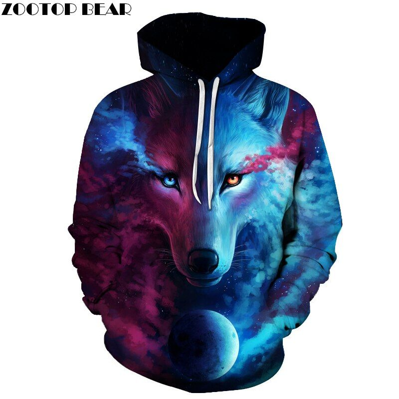 Vente chaude Marque Loup Imprimé Hoodies Hommes 3D Sweat Qualité Plus La taille Pull Nouveauté 6XL Streetwear Homme Veste À Capuche