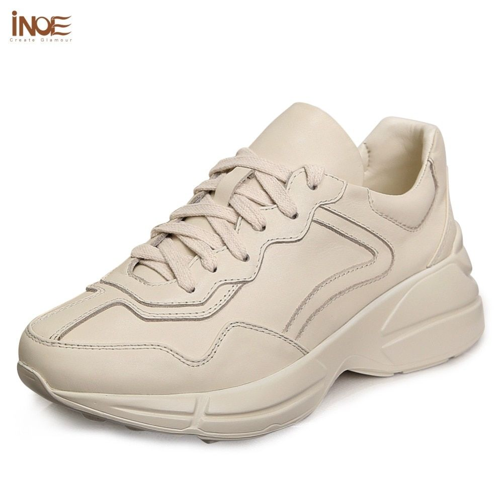 INOE 2018 new fashion soft genuine leather casual women shoes spring & autumn flats walking sneakers lace up girl rubble sole