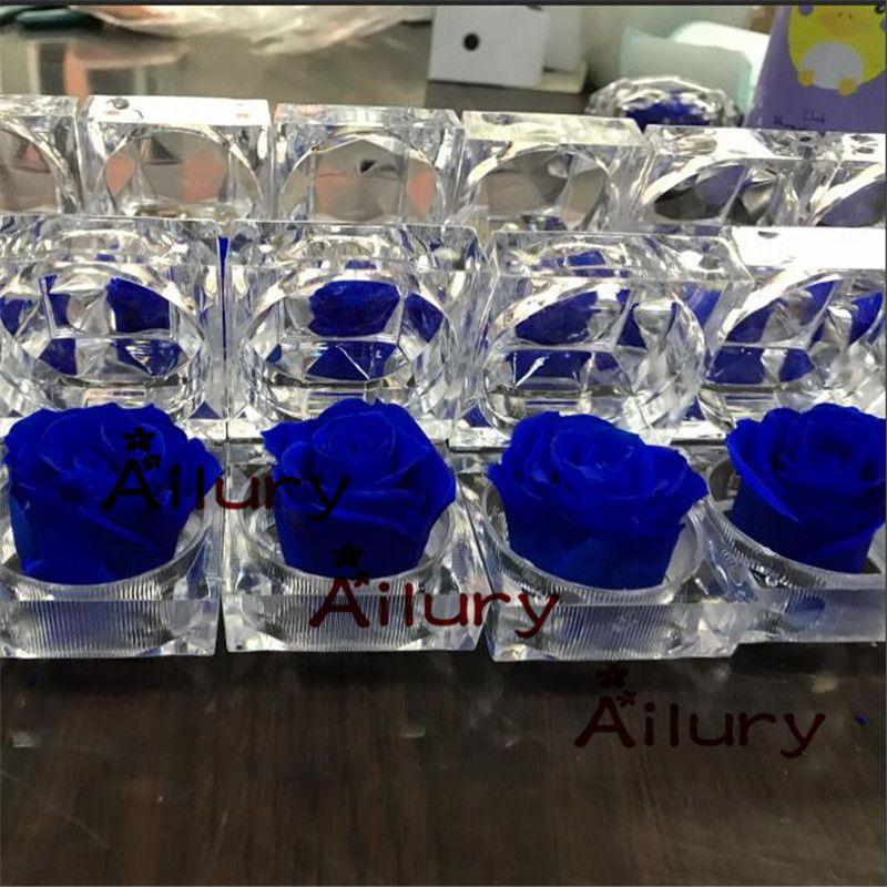 6 pcs/lot, 4.8 * 4.8cm.boîte à bagues à fleurs conservées immortelles roses colorées BLUELOVER cadeau aux copines. saint valentin