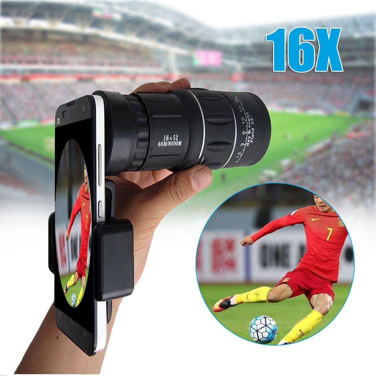 Universel 18X Optique Zoom Télescope Lentille Clip 16x52 Mobile Téléphone Camera Lens Portable Monoculaire pour la Randonnée Concert