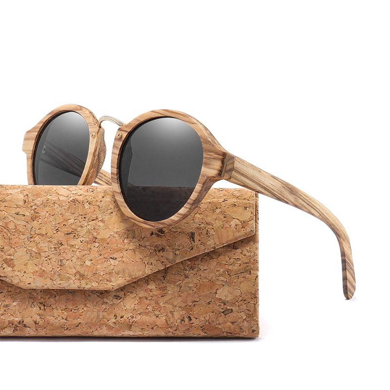2019 lunettes de soleil en bois de zèbre pour hommes femmes rétro lunettes de soleil rondes lentille polarisée UV400 avec étui