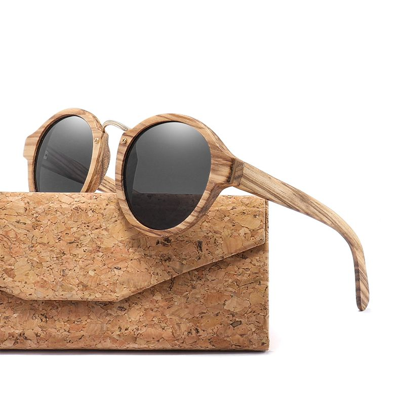 2018 Zebra Wood Sunglasses For Men Women Retro Round Sun Glasses Polarized Lens UV400 with Case