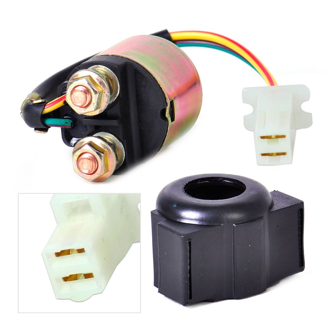 DWCX Motorbike 2-Wire Plug Connection Starter Relay Solenoid for Yamaha XV750 Virago SR185 YFM350 Honda ATV 300 Fourtrax Suzuki