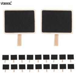 20pcs Mini Retangle Chalkboard Clips Blackboard Tag Crafts for Wedding Party Table Decoration Note Message Stand Table Board
