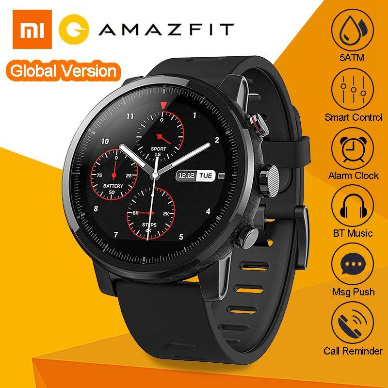 International English Version Xiaomi Huami AMAZFIT Stratos 2 GPS Smart Sports Watch 5ATM Waterproof Swimming Outdoor Smartwatch