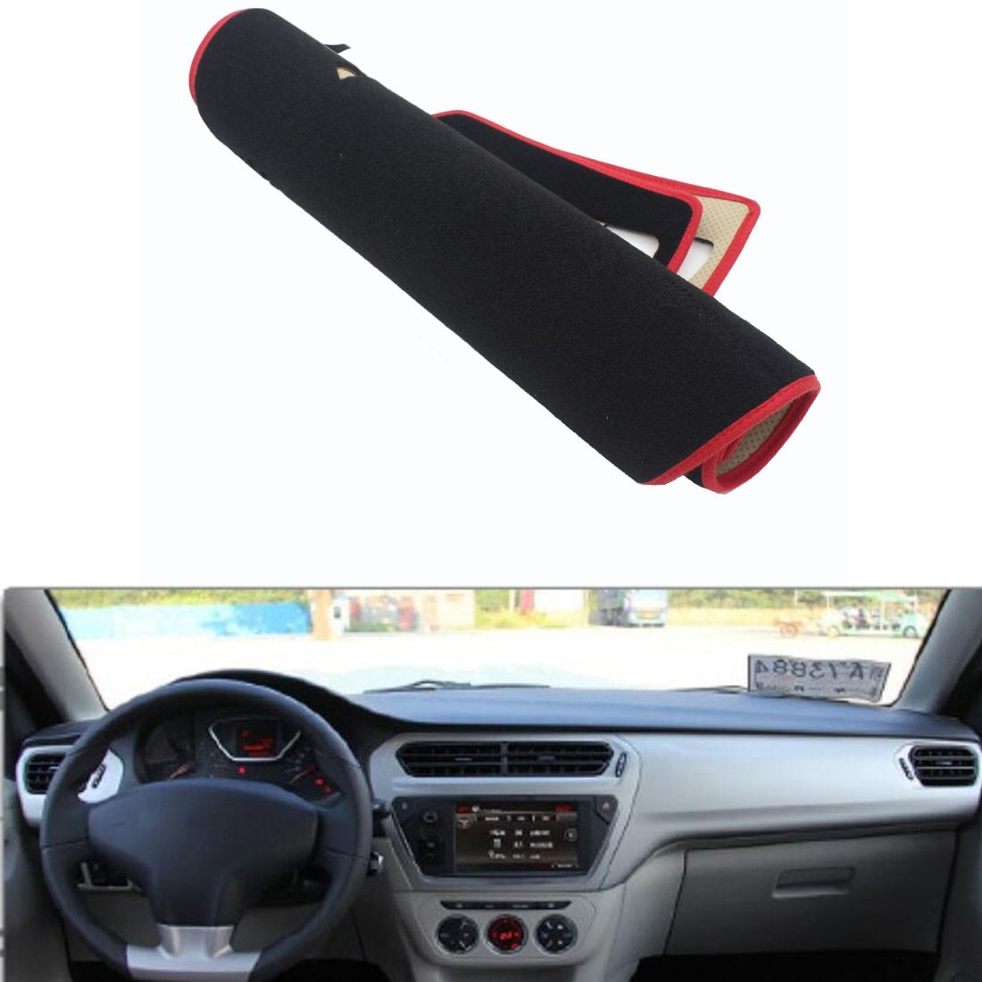 For Citroen C-Elysee 2014-2016 Car Dashboard Avoid Light Pad Instrument Platform Desk Cover Mat Silicone Non-skid Back Surface
