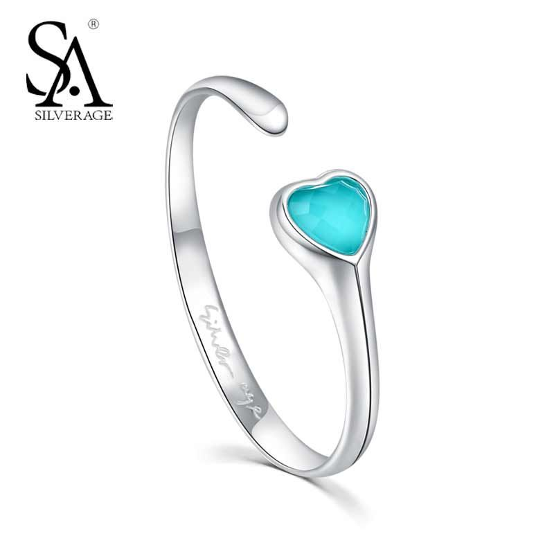 Real 925 Sterling Silver Turquoise Hearts Bracelets & Bangles for Women 2018 Classic Design Sterling Silver Fine Jewelry