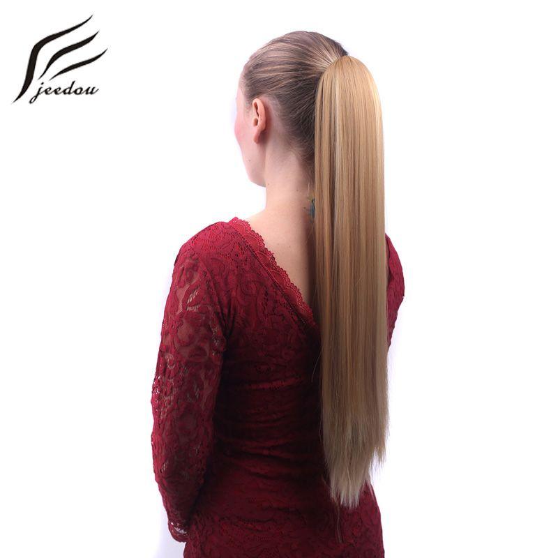 Jeedou Droite Synthétique queue de Cheval Extensions De Cheveux Longue Griffe Ponytail 55 cm 130g Commode Pin Up Coiffures femmes Postiches