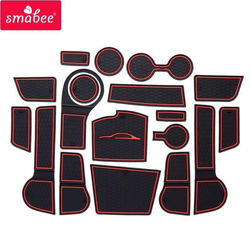 smabee Gate slot mat For For Kia Rio 4 X-Line RIO 2017-2018 Interior Door Pad/Cup Non-slip mats red/white/orange 18pcs